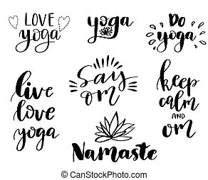 Vector set of hand lettering inscriptions about yoga. Can be...