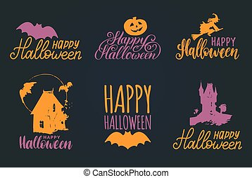Vector set of hand lettering with Happy Halloween phrase and sketches of horror symbols. All Saints Eve background