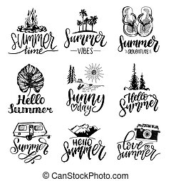 Vector set of hand lettering with summer motivational phrases and sketches. Calligraphy inspirational quotes collection.