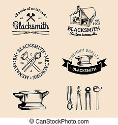 Vector set of hand sketched blacksmith logos. Vector farrier...