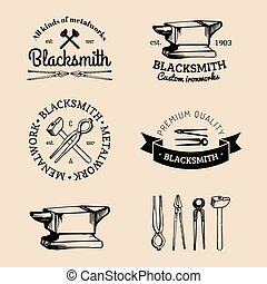 Vector set of hand sketched blacksmith logos. Vintage...