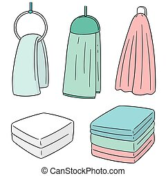 vector set of hand towel