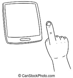 vector set of hand using smartphone