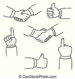 vector set of hand
