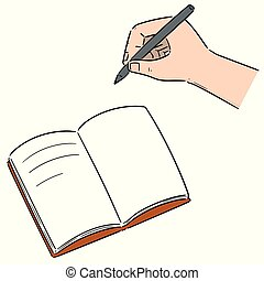 vector set of hand writing on notebook