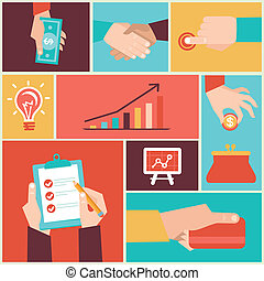 Vector set of hands - clients purchases - Vector set of...