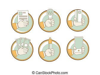Vector set of hands clients purchasing work in thin line