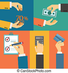 Vector set of hands, purchase payment credit flat retro illustration