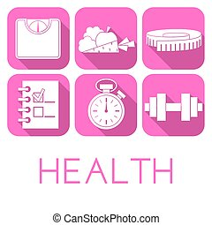Vector set of health icon in flat style
