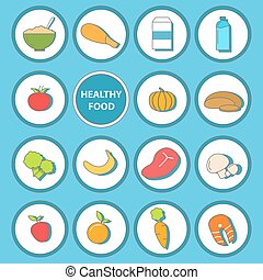 Vector set of healthy food icons in flat style design