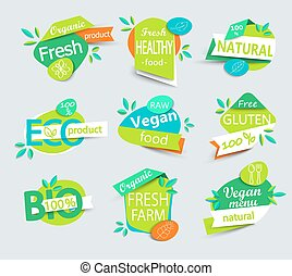 Vector set of healthy organic food labels.