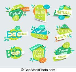 Vector set of healthy organic food labels.
