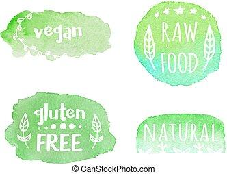 Vector set of healthy vegan, raw, gluten free, natural food labels.