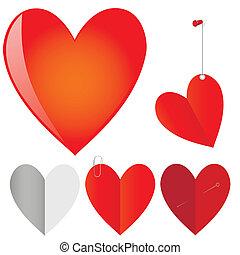 Vector set of hearts.