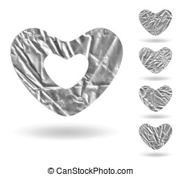 Set of hearts isolated on white