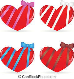set of hearts with ribbons