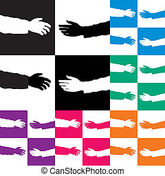 vector set of helping hands