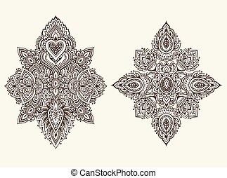 Vector set of henna floral elements