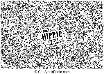 Vector set of Hippie theme items, objects and symbols