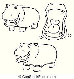 vector set of hippopotamus