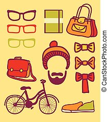 Vector set of hipster
