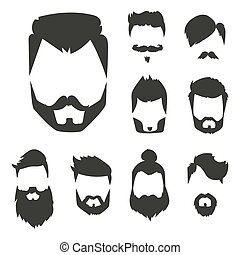 Vector set of hipster retro hair style mustache vintage old...