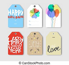 Vector set of Holiday gift cards.