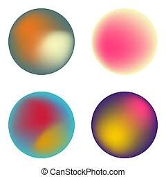 Vector set of holographic fluid circles.