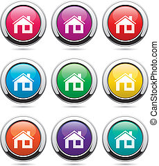 vector set of home buttons
