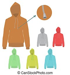 Vector set of Hoodie with solid and flat color design.