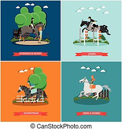 Vector set of horse concept posters in flat style