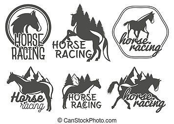 Vector set of horse racing labels in vintage retro style. Design elements, icons, logo, emblems