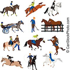 Vector set of horse riders icons, flat design