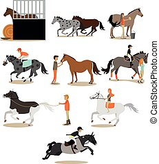Vector set of horse riding people icons in flat style
