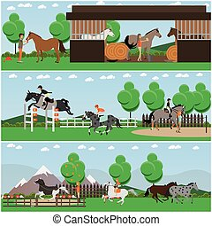 Vector set of horse riding posters, banners in flat style