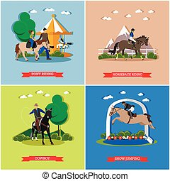 Vector set of horse theme, flat design