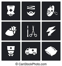 Vector Set of Hospital Icons. Drip, Patient, Mask, Heart,...