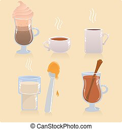 Vector set of hot drinks