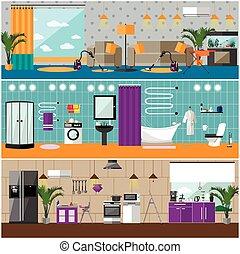 Vector set of house interior banners. Apartment with furniture, living room, bathroom, kitchen