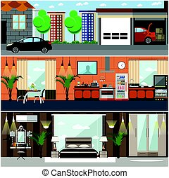 Vector set of house interior posters, banners in flat style