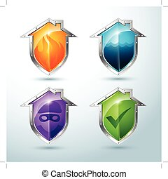 house-shaped shield icons - Vector Set of house-shaped ...