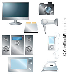 set of household electronic elements - Vector set of...