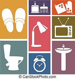 Vector set of household items design flat icons