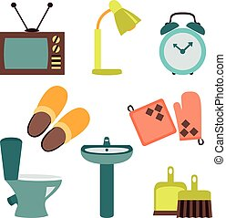 Vector set of household items design flat icons - Vector...