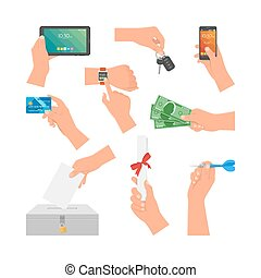 Vector set of human hands holding money, credit card, phone and key. Design elements, icons isolated on white background