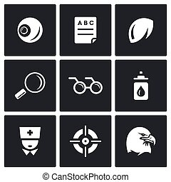 Vector Set of Human Vision Icons. Eye, Braille, Lens, Surveillance, Blindness, Prevention, Optometrist, Laser Correction, Acuity.