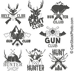 Vector set of hunt club labels. Monochrome badges, emblems, logos and banners in vintage style. Isolated illustrations guns, deers, knifes, bear