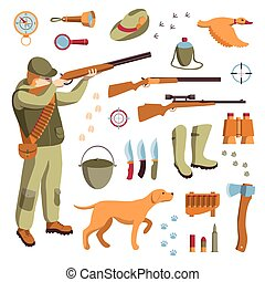 Vector set of hunting