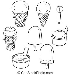 vector set of ice cream