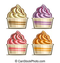 Vector set of Ice Cream in paper cup